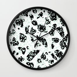 Triple Terrazzo - Mint Green Black & White Modern Speckle Pattern Wall Clock