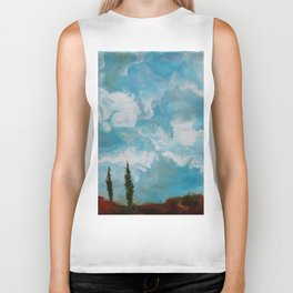 Cypress Trees encaustic wax painting by Seasons Kaz Sparks Biker Tank