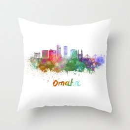 Omaha V2  skyline in watercolor  Throw Pillow