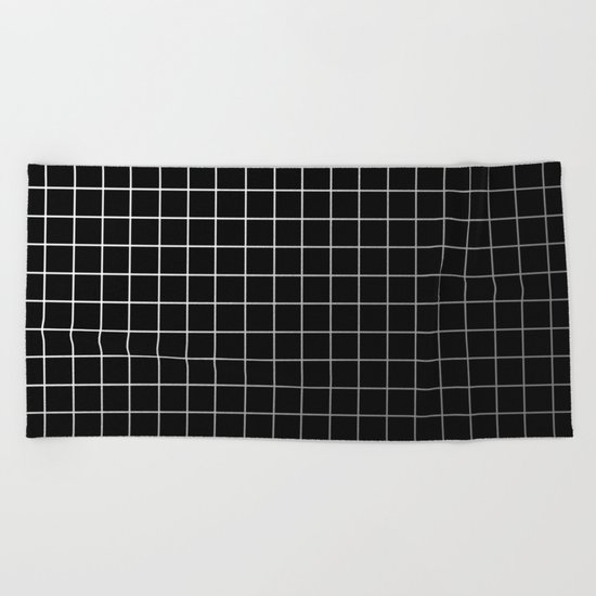 Metal Cage - Industrial, metallic grid pattern Beach Towel