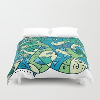under the sea Duvet Covers featuring Enchantment Under the Sea by Rabassa