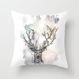 Cobweb Deer Throw Pillow