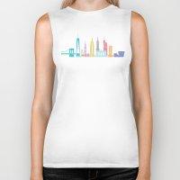new york skyline Biker Tanks featuring New York Skyline Black by Christopher Dina