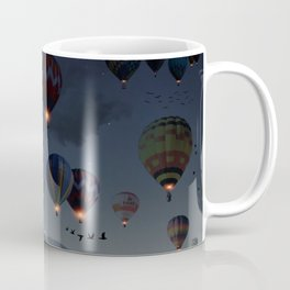 Human facing the moon and balloons by GEN Z Coffee Mug