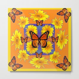 ORNATE YELLOW MONARCH BUTTERFLIES & YELLOW SUNFLOWERS Metal Print