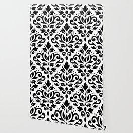 Scroll Damask Large Pattern Black on White Wallpaper