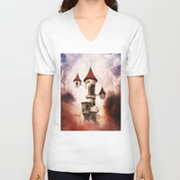 castle in the sky V-neck T-shirts featuring Castle in the Sky by Heidy Curbelo