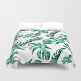 Green Coral Palm Leaves Duvet Cover