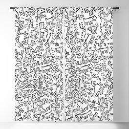 Figures Keith Haring White Blackout Curtain