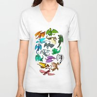 dragons V-neck T-shirts featuring Dragons by prpldragon