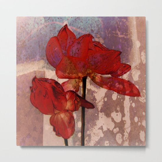 red lotus on textures Metal Print