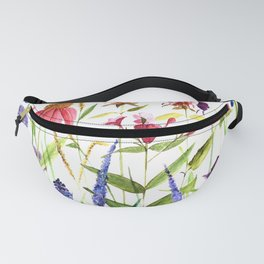 Botanical Colorful Flower Wildflower Watercolor Illustration Fanny Pack