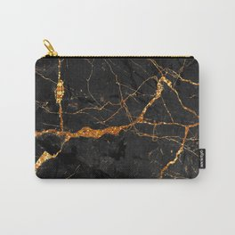 Black Malachite Marble With Gold Veins Carry-All Pouch
