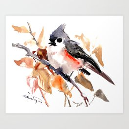 titmouse in the fall, Fall colors, birds and flowers bird art Art Print