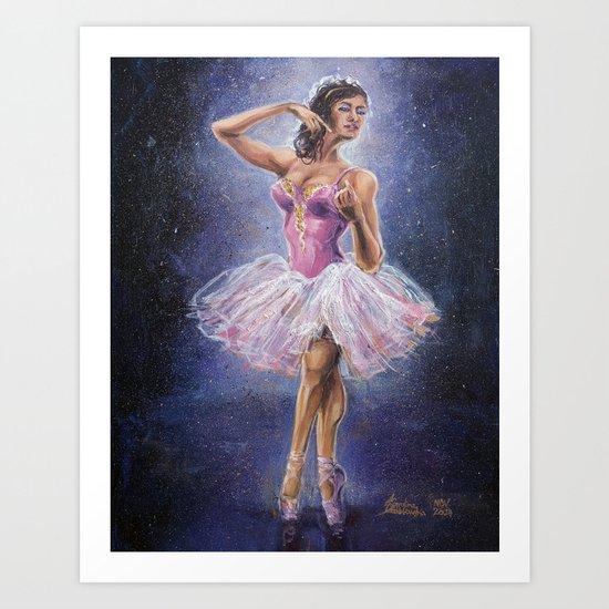 Repainted Ballerina in Spotlight Art Print