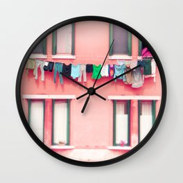 Laundry Venice Italy Travel Photography Wall Clock