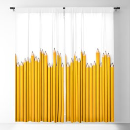 Pencil row / 3D render of very long pencils Blackout Curtain