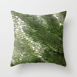 Green spangle Throw Pillow