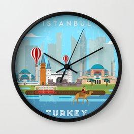 Istanbul, Turkey- Retro travel poster Wall Clock