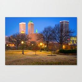 Bright Trails to the Tulsa Oklahoma Skyline - Color Canvas Print