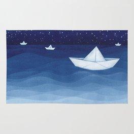 Paper boats illustration Rug