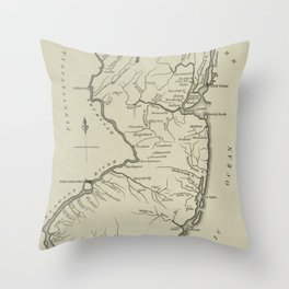 Vintage Map of New Jersey (1794) Throw Pillow