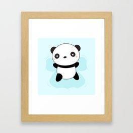 Kawaii Panda Snow Angel Framed Art Print