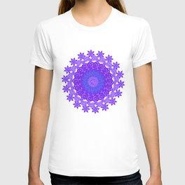 Shades Of Purple And Green Mandala Floral Design T-shirt