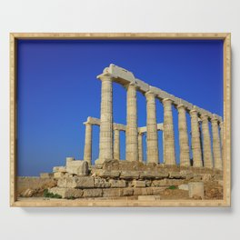 Temple of Poseidon in Sounion near Athens (Greece) Serving Tray