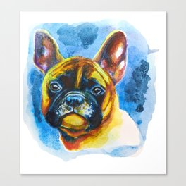 Watercolor French Bulldog Colorful Rainbow Pet Portrait Canvas Print