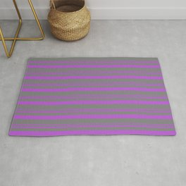 Orchid and Grey Colored Lined Pattern Rug