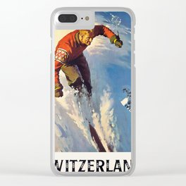 Switzerland Vintage Ski Travel Poster Clear iPhone Case
