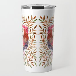 Le Coq – Watercolor Rooster with Sepia Leaves Travel Mug