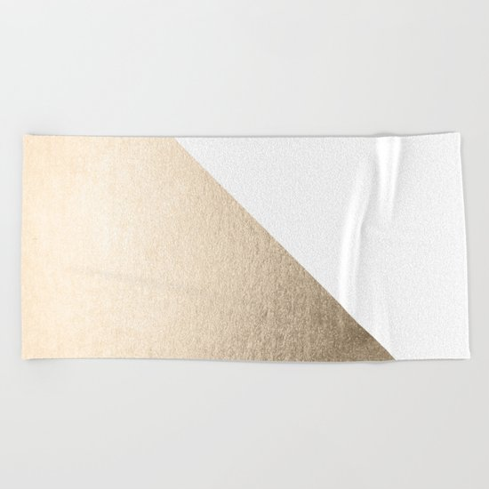 Simply Shadow in White Gold Sands Beach Towel