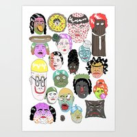 faces Art Prints featuring Faces by james clapham