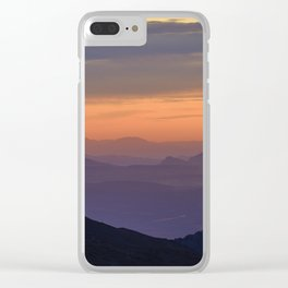 Sunset At The Mountains. Purple Dreams Clear iPhone Case