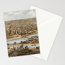 Vintage Pictorial Map of Appleton WI (1874) Stationery Cards