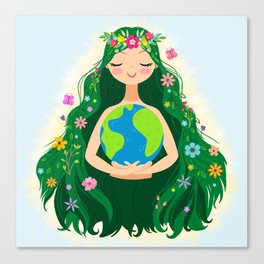 Beautiful Flowing Flower Earth Mother Figure Canvas Print