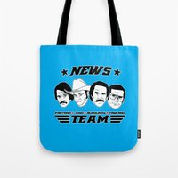 anchorman Tote Bags featuring news team - the anchorman by Buby87