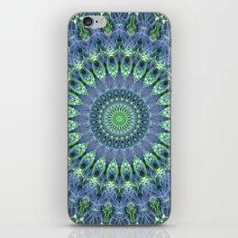 Mandala in light green and blue colors iPhone Skin