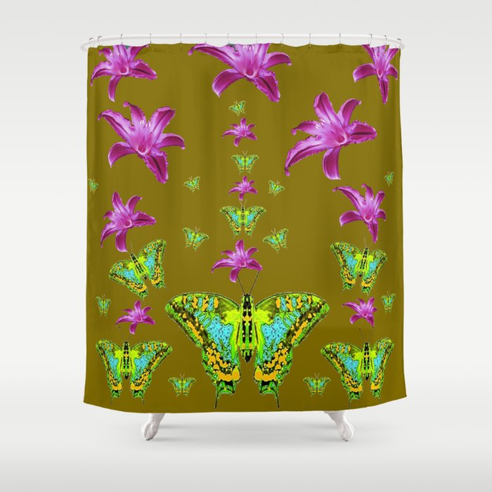 PURPLE LILIES BLUE-GREEN-YELLOW PATTERNED MOTHS Shower Curtain