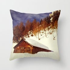 Ski Hut in the Alps Throw Pillow