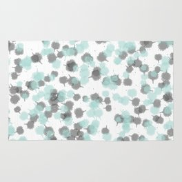 Teal and Grey Ink Drops Rug