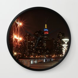 Empire state building with colombian flag Wall Clock