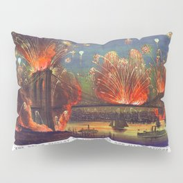 NEW YORK FIREWORKS city old map Father Day art print poster Pillow Sham