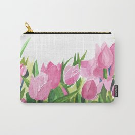 Spring is Near - Pink Tulips Carry-All Pouch