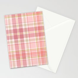 Pink Plaid Stationery Cards