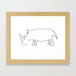 Line Rhino Framed Art Print