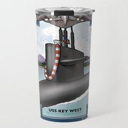 USS Key West - Pearl Harbor Submarine Service (Silver Dolphins) Travel Mug