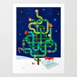 Christmas pipe tree Art Print